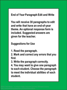 End of Year Edit and Write Paragraphs