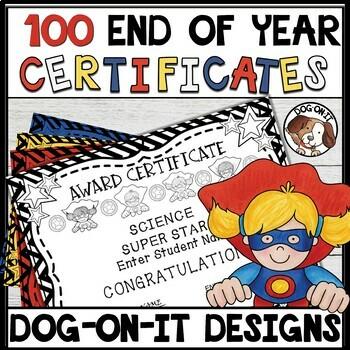 Superhero End of Year Editable Awards Student Award Certificates