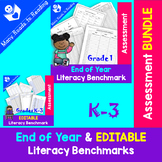 End of Year & Editable Literacy Assessment BUNDLE K-3