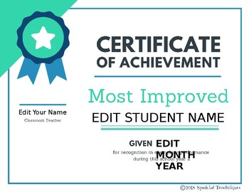 End of Year Editable Student Award #spedprepsummer3