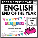 End of Year English Award Certificate - (Editable)