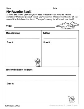 End of Year Favorite Book Graphic Organizer
