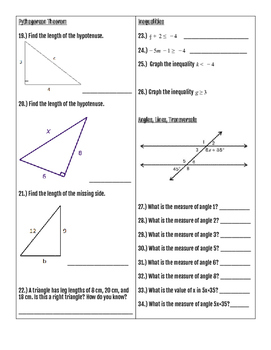 Pre-Algebra End of Year Final Exam Study Guide (Part 2 - Calculator Portion)