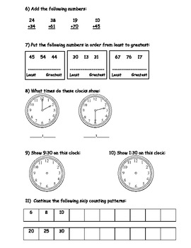 End of Year First Grade Math Assessment