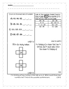 End of Year First Grade Math Common Core Activity Book Pages