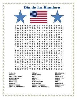 Flag Day in Spanish- Word Search and Double Puzzle