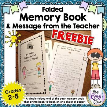 End of Year Memory Book * Memory Book Foldable *  FREEBIE!