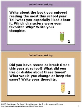 End-of-Year Free Writing Prompts