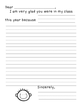 End of Year Friendship Writing