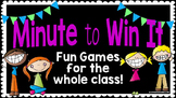 Back to School OR End of Year Fun: Minute to Win It Games