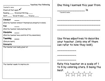End of Year Fun Stuff: Teacher's Report Card
