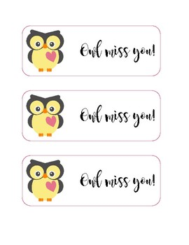 graphic about Owl Miss You Printable called Owl Pass up Yourself Tags Worksheets Education Elements TpT