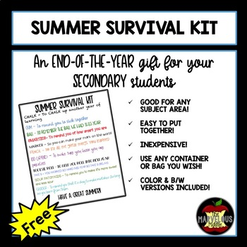 End of Year Gift - Summer Survival Kit for Secondary Students