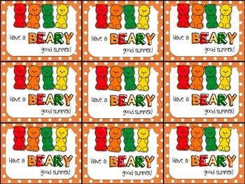 End of Year Gift Tag (Have a BEARY good summer- Gummy Bear)