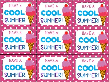 end of year gift tag have a cool summer by highs and lows of a teacher