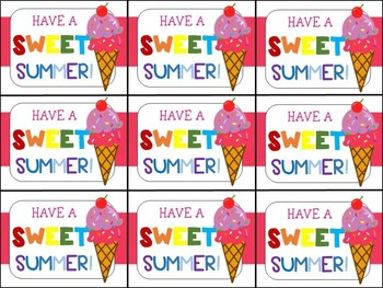 End of Year Gift Tag (Have a Sweet Summer-Ice Cream)