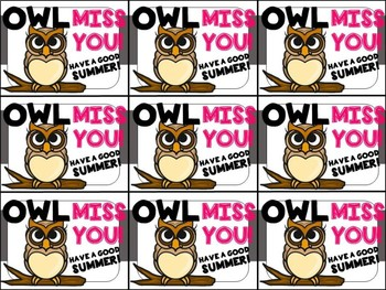 End of Year Gift Tag (Owl Miss You)