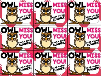 graphic relating to Owl Miss You Printable identified as Close of Yr Present Tag (Owl Skip Oneself)