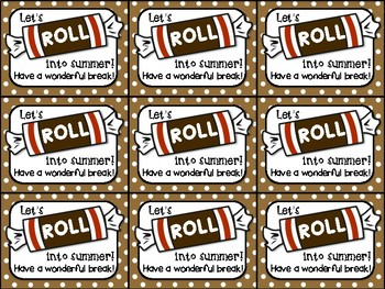 End of Year Gift Tag (Tootsie Roll- Let's Roll into Summer)