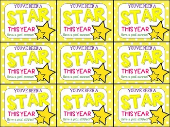 End of Year Gift Tag (You've Been a Star This Year- Have a Good Summer)