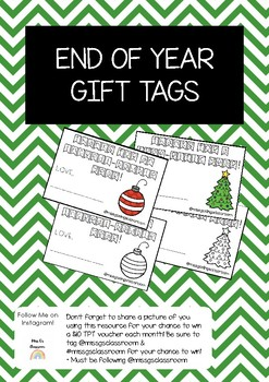 End of Year Gift Tags   Christmas Themed