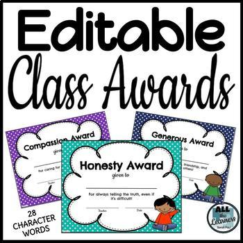 Good Character Awards {Editable}