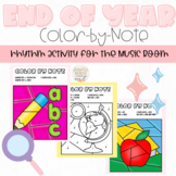 Back to School Graduation Color-by-Note Music Coloring Pages Activity for Rhythm