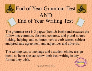 Adverbs test teaching resources teachers pay teachers end of year grammar and writing test fandeluxe Images