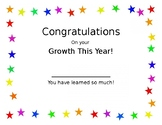End of Year Growth Certificate