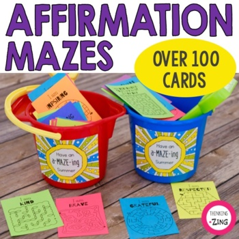 """End of Year """"Have an A-MAZE-Ing Summer"""" Affirmation Mazes"""