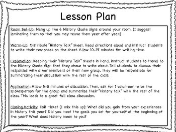 """End of Year """"History Talk"""" Activity"""