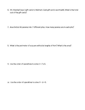 End of Year Homework Review - 3rd Grade Florida Standards