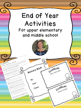 End of the Year Activities~ for Upper Elementary and Middle School