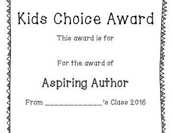 End of Year Kids Choice Awards Printable for Classroom!