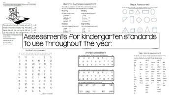 Kindergarten Assessments and Task Cards (Year Review)