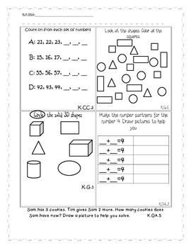 End of Year Kindergarten Math Common Core Activity Book Pages