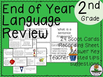 End of Year Language Review Task Cards Scoot Game - 2nd Grade!