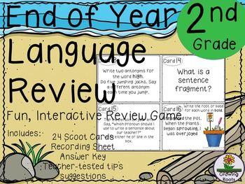 End of Year Language Review Game / Task Cards - 2nd Grade!