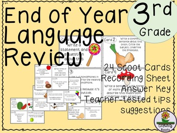 End of Year Language Review Task Cards Scoot Game - 3rd  Grade!