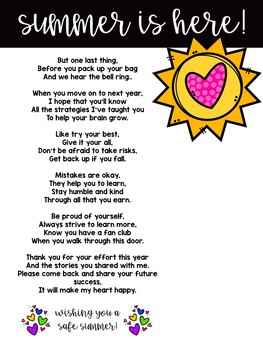 End Of Year Poem Last Day By Smart Cookie Classroom