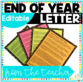 End of Year Letter From Your Teacher Editable