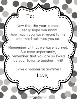 End of Year Letter (Poem) for Students: 5 Color Options