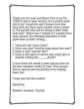 end of year letter template for incoming students by amateur teacher