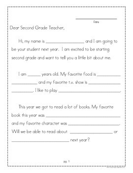 End of Year Letter Writing Templates (1st Grade)