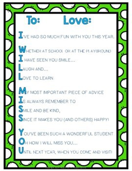 End of Year Letter (Poem) for Students: 4 Color Options