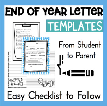 End of Year Letter to Parents 1st 2nd 3rd grade Writing Ac