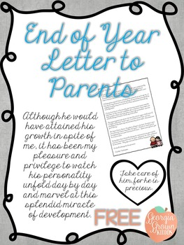 End of Year Letter to Parents, Sentimental by Georgia ...