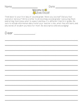 End of Year Letter to Upcoming 2nd Graders