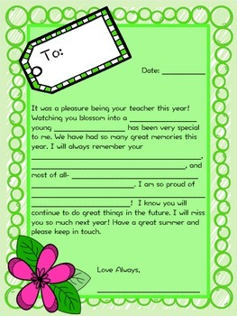 End-of-Year Letter to Your Students!