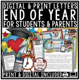 End of Year Letter to Student & Parents EDITABLE